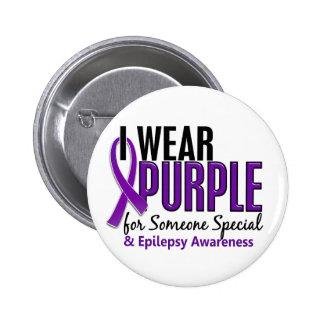Llevo la púrpura para alguien la epilepsia especia pin redondo de 2 pulgadas