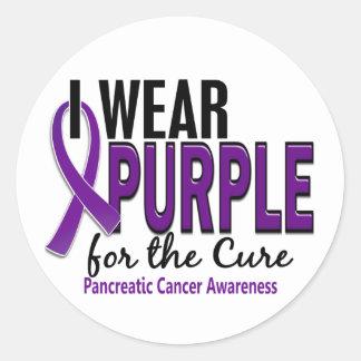 Llevo la púrpura para el cáncer pancreático de la etiqueta redonda
