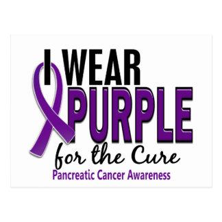 Llevo la púrpura para el cáncer pancreático de la tarjeta postal