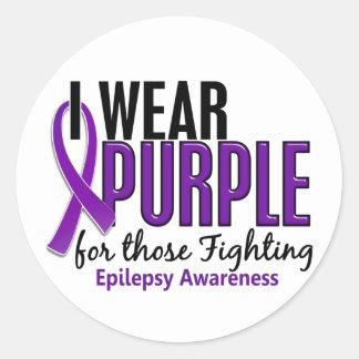 Llevo la púrpura para ésos la epilepsia que lucha pegatina redonda