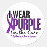 Llevo la púrpura para la epilepsia de la curación etiqueta redonda