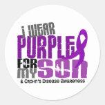 Llevo la púrpura para la mi enfermedad de Crohn Etiqueta Redonda