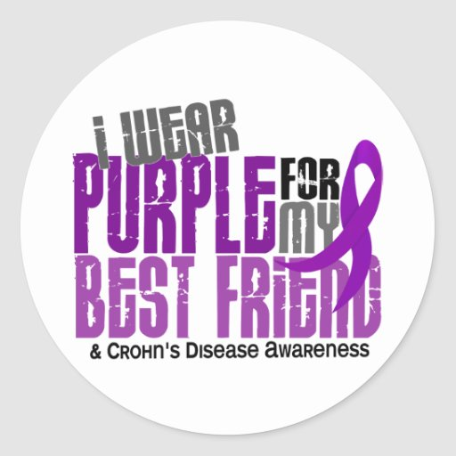 Llevo la púrpura para la mi enfermedad de Crohn Pegatina Redonda