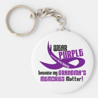Llevo la púrpura para las memorias 33 de mi abuela llavero redondo tipo pin