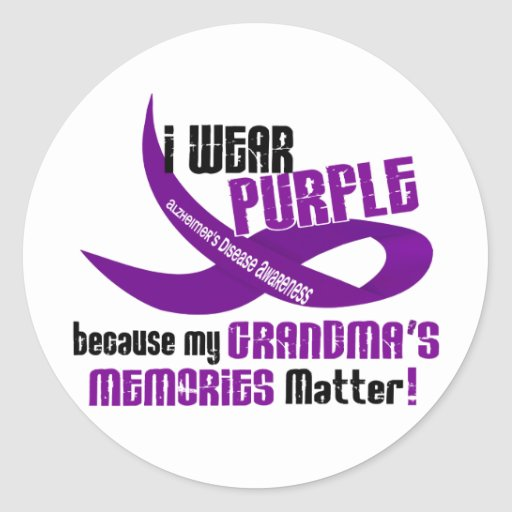 Llevo la púrpura para las memorias 33 de mi abuela pegatina redonda