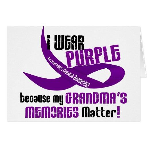 Llevo la púrpura para las memorias 33 de mi abuela tarjeta de felicitación