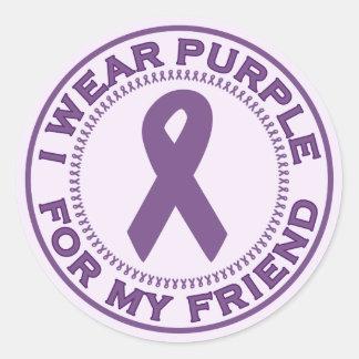 Llevo la púrpura para mi amigo etiqueta redonda