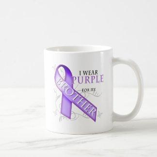 Llevo la púrpura para mi Brother Tazas De Café