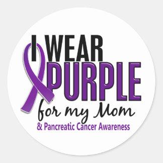 Llevo la púrpura para mi cáncer pancreático de la etiquetas redondas