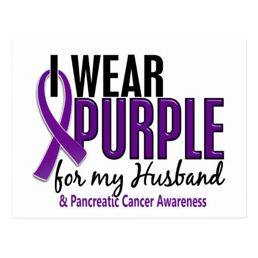 Llevo la púrpura para mi cáncer pancreático del ma postales