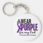 Llevo la púrpura para mi cáncer pancreático del pa llaveros