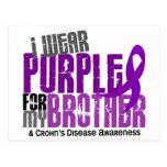 Llevo la púrpura para mi enfermedad de Brother 6 C Tarjetas Postales