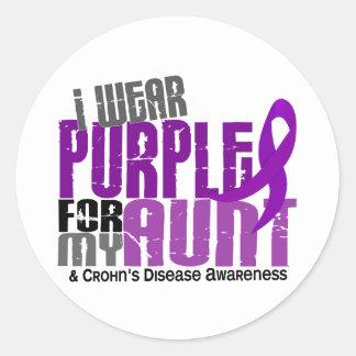 Llevo la púrpura para mi enfermedad de tía 6 Crohn Pegatina Redonda