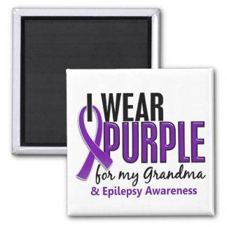 Llevo la púrpura para mi epilepsia de la abuela 10 iman de frigorífico