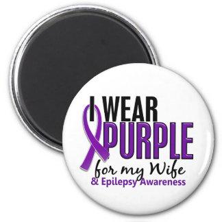 Llevo la púrpura para mi epilepsia de la esposa 10 iman para frigorífico