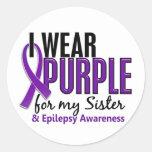 Llevo la púrpura para mi epilepsia de la hermana 1 pegatinas