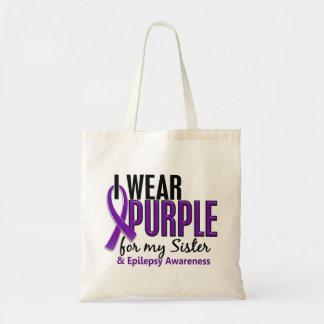 Llevo la púrpura para mi epilepsia de la hermana bolsa tela barata
