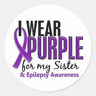 Llevo la púrpura para mi epilepsia de la hermana pegatina redonda