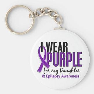 Llevo la púrpura para mi epilepsia de la hija 10 llavero redondo tipo pin