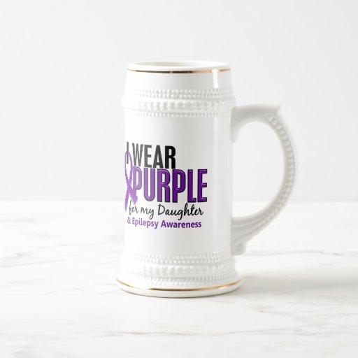 Llevo la púrpura para mi epilepsia de la hija 10 taza de café