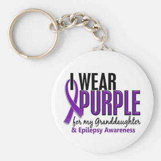 Llevo la púrpura para mi epilepsia de la nieta 10 llavero redondo tipo pin