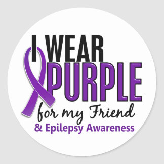 Llevo la púrpura para mi epilepsia del amigo 10 pegatina redonda