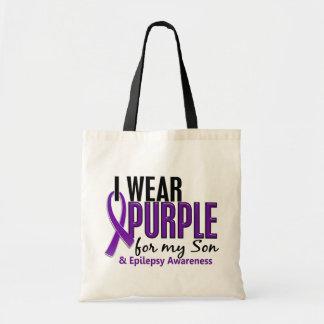 Llevo la púrpura para mi epilepsia del hijo 10 bolsa tela barata