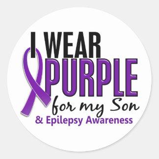 Llevo la púrpura para mi epilepsia del hijo 10 pegatina redonda