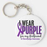 Llevo la púrpura para mi Fibromyalgia de la novia  Llavero Personalizado