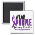 Llevo la púrpura para mi Fibromyalgia del primo 10 Imán Para Frigorífico