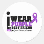 Llevo la púrpura para mi fibrosis quística del pegatina redonda