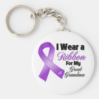 Llevo la púrpura para mi Grande-Abuela Llavero Redondo Tipo Pin