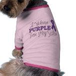 Llevo la púrpura para mi hermana (la cinta púrpura camiseta de perro