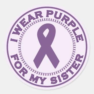 Llevo la púrpura para mi hermana pegatinas redondas