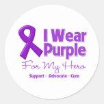 Llevo la púrpura para mi héroe etiquetas redondas