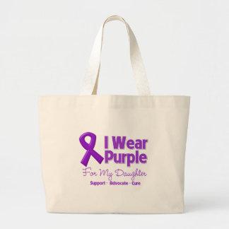 Llevo la púrpura para mi hija bolsa tela grande