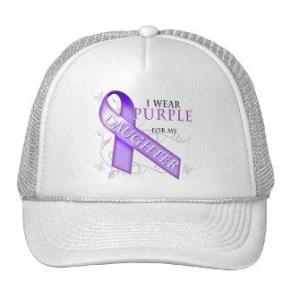 Llevo la púrpura para mi hija gorras