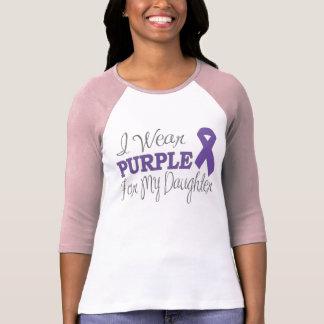 Llevo la púrpura para mi hija la cinta púrpura camiseta
