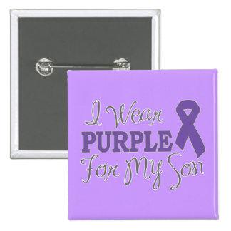 Llevo la púrpura para mi hijo (la cinta púrpura) pin cuadrado