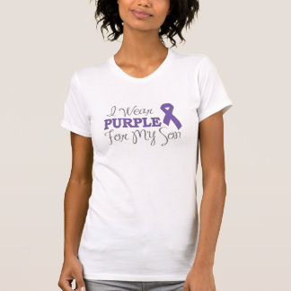 Llevo la púrpura para mi hijo la cinta púrpura camisetas