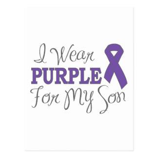 Llevo la púrpura para mi hijo la cinta púrpura tarjeta postal