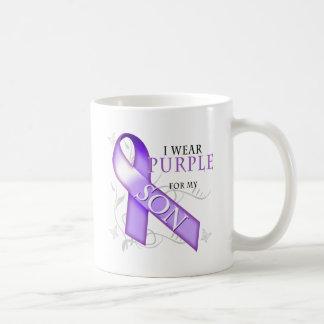 Llevo la púrpura para mi hijo tazas