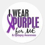 Llevo la púrpura para MÍ la epilepsia 10 Etiquetas Redondas