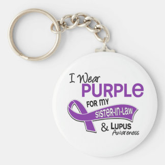 Llevo la púrpura para mi lupus de la cuñada 42 llavero redondo tipo pin