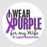 Llevo la púrpura para mi lupus de la esposa 10 pegatinas redondas
