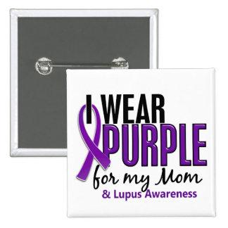 Llevo la púrpura para mi lupus de la mamá 10 pin cuadrado