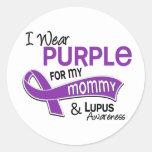 Llevo la púrpura para mi lupus de la mamá 42 etiquetas redondas