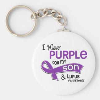Llevo la púrpura para mi lupus del hijo 42 llavero redondo tipo pin