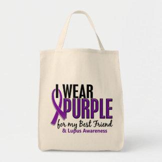 Llevo la púrpura para mi lupus del mejor amigo 10 bolsa tela para la compra