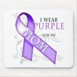 Llevo la púrpura para mi mamá alfombrilla de ratón